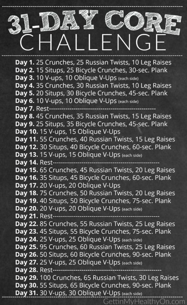 ab challenge #abchallenge Tone your abs with this 31-day core workout challenge, perfect for Decembe...