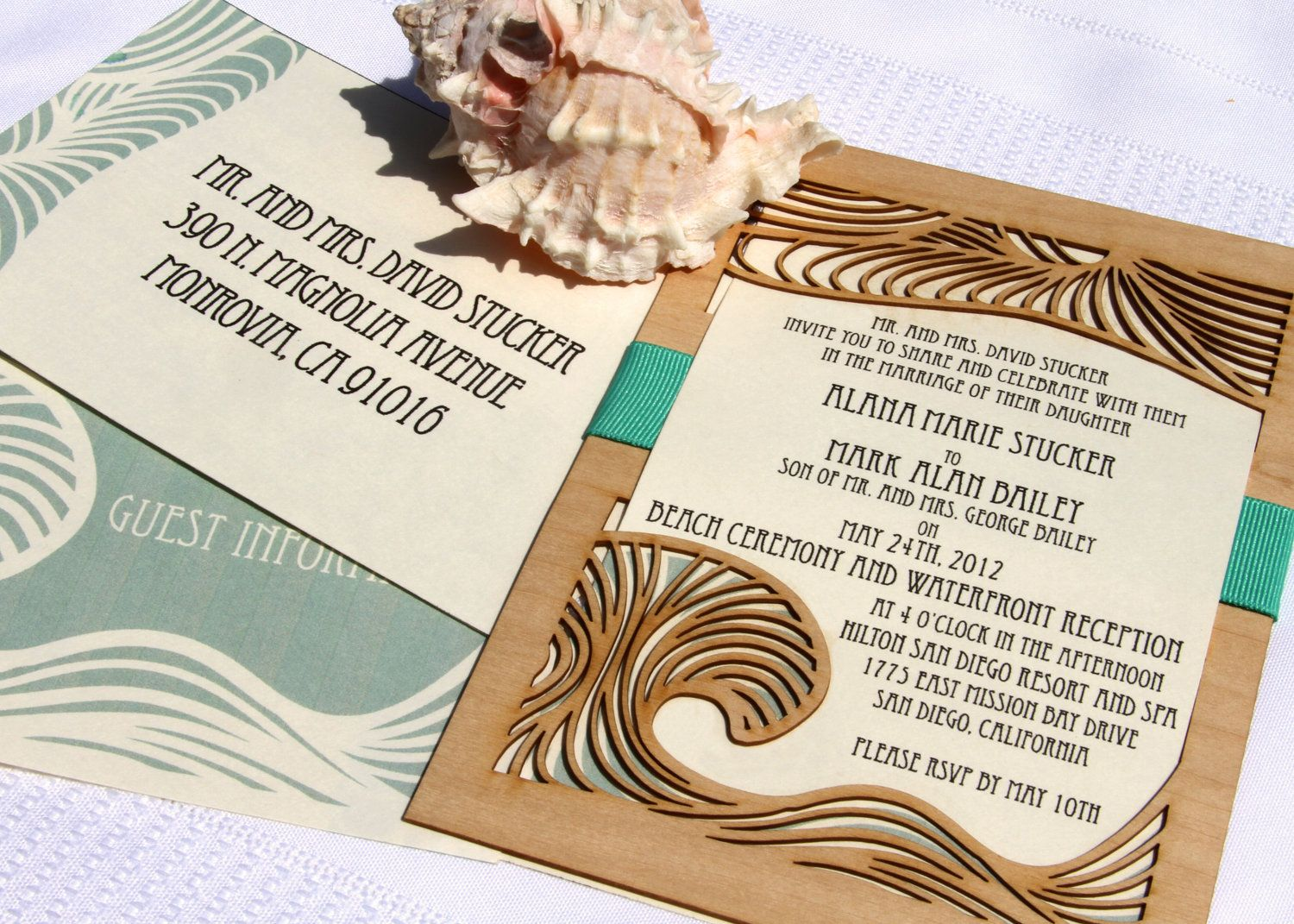 Wedding Invitation and Response Card made from Wood and Paper ...