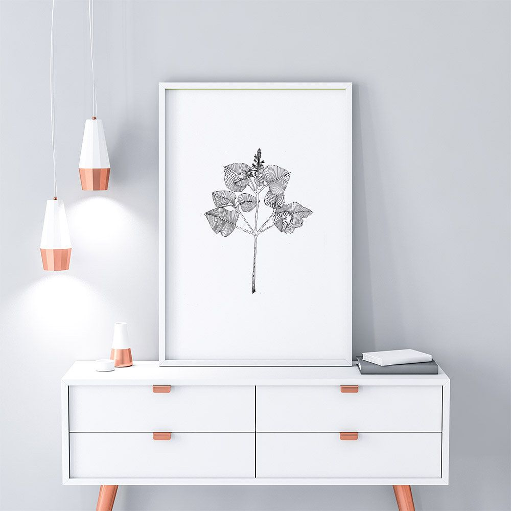 Botanical line drawing botanical print black and white art line