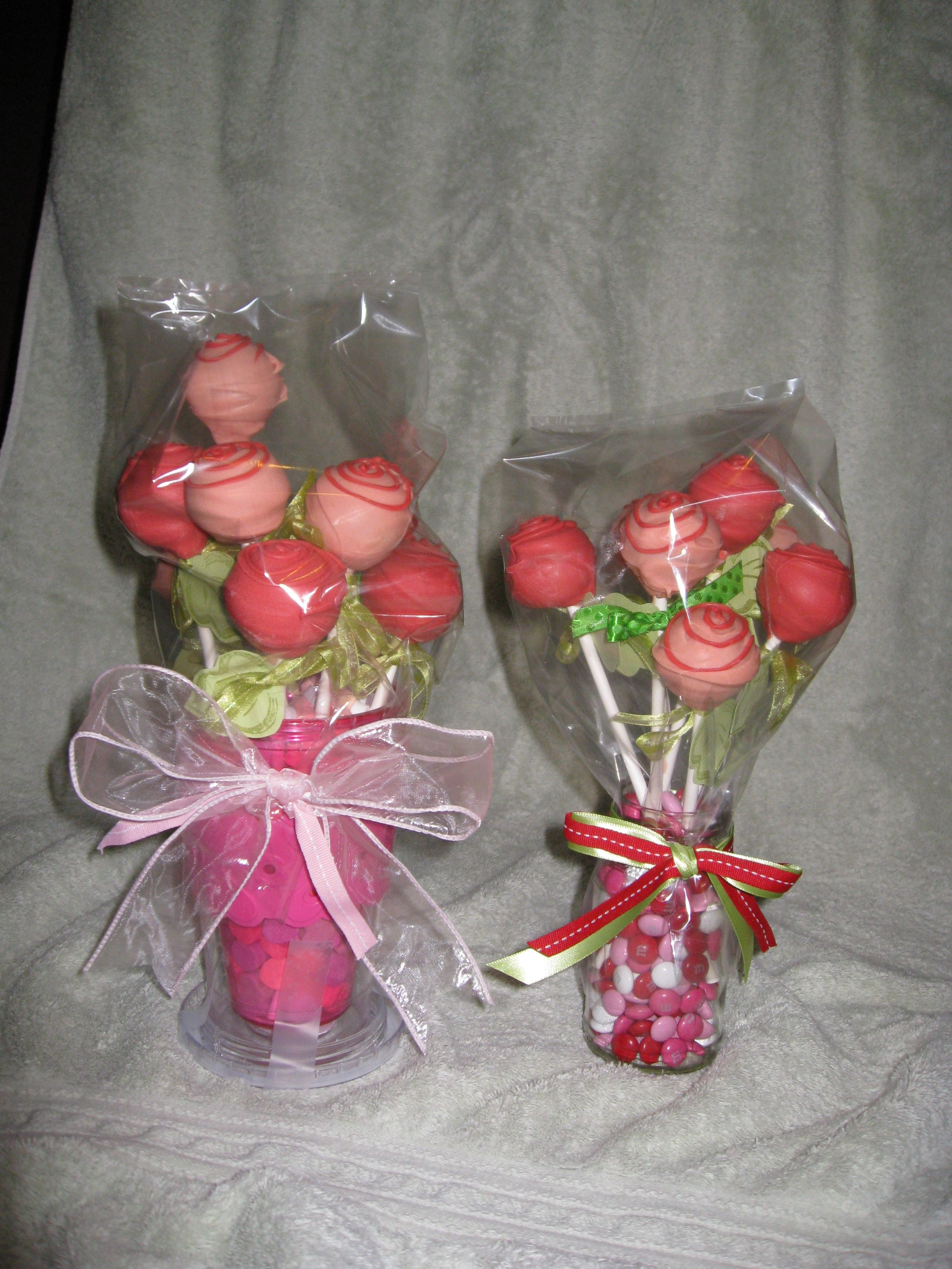 Rose Cake Pop Bouquets for St. Pat's Cake Walk - Jan 2013 #cakepopbouquet