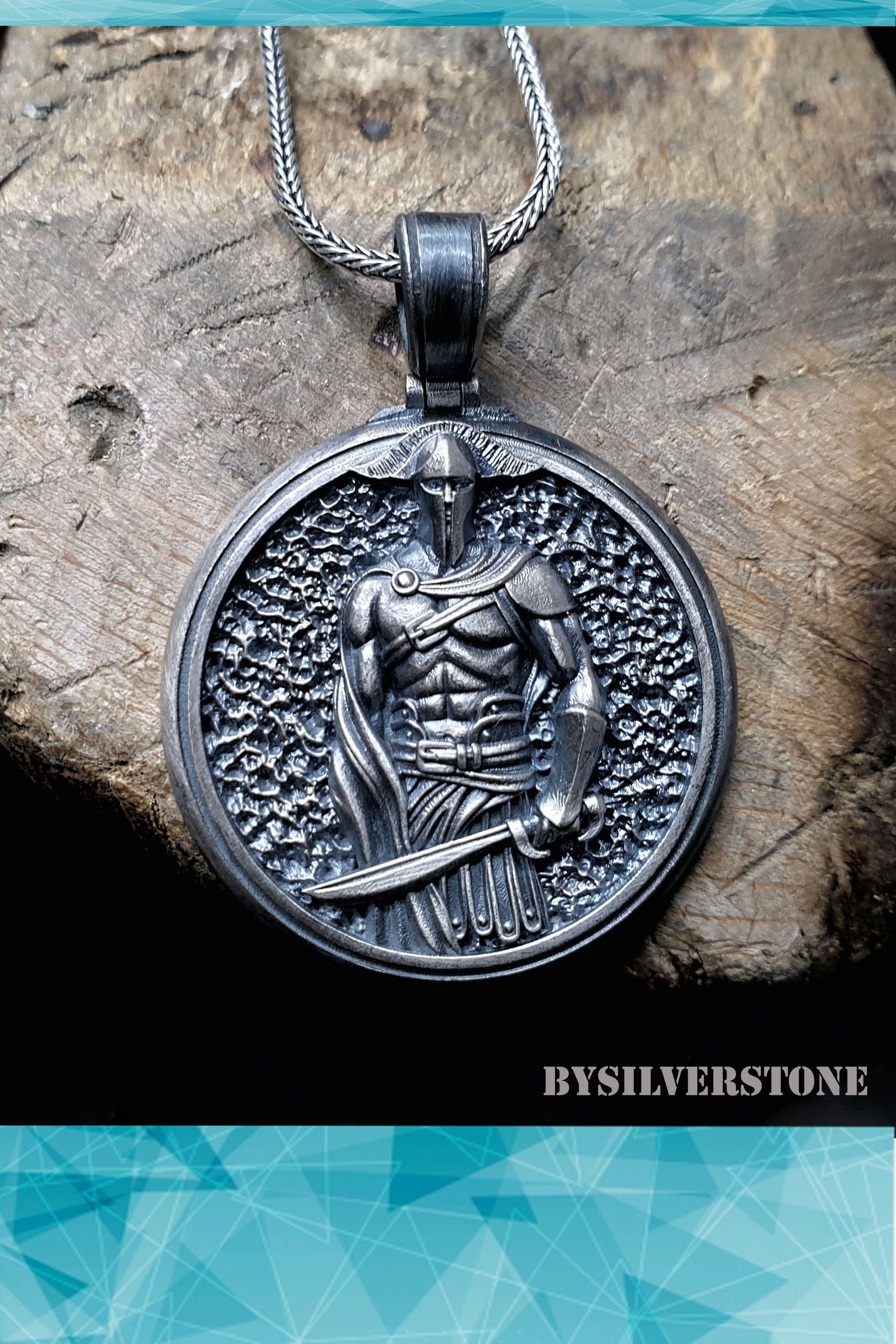 Pandora Mens Necklace : pandora, necklace, Soldier, Silver, Medallion, Necklace,, Men's, Unique, Accessories., Warrior, Pendants,, Jewelry
