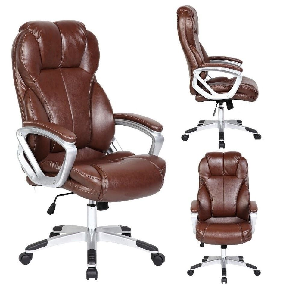 2xhome Brown Leather Deluxe Professional Ergonomic High ...