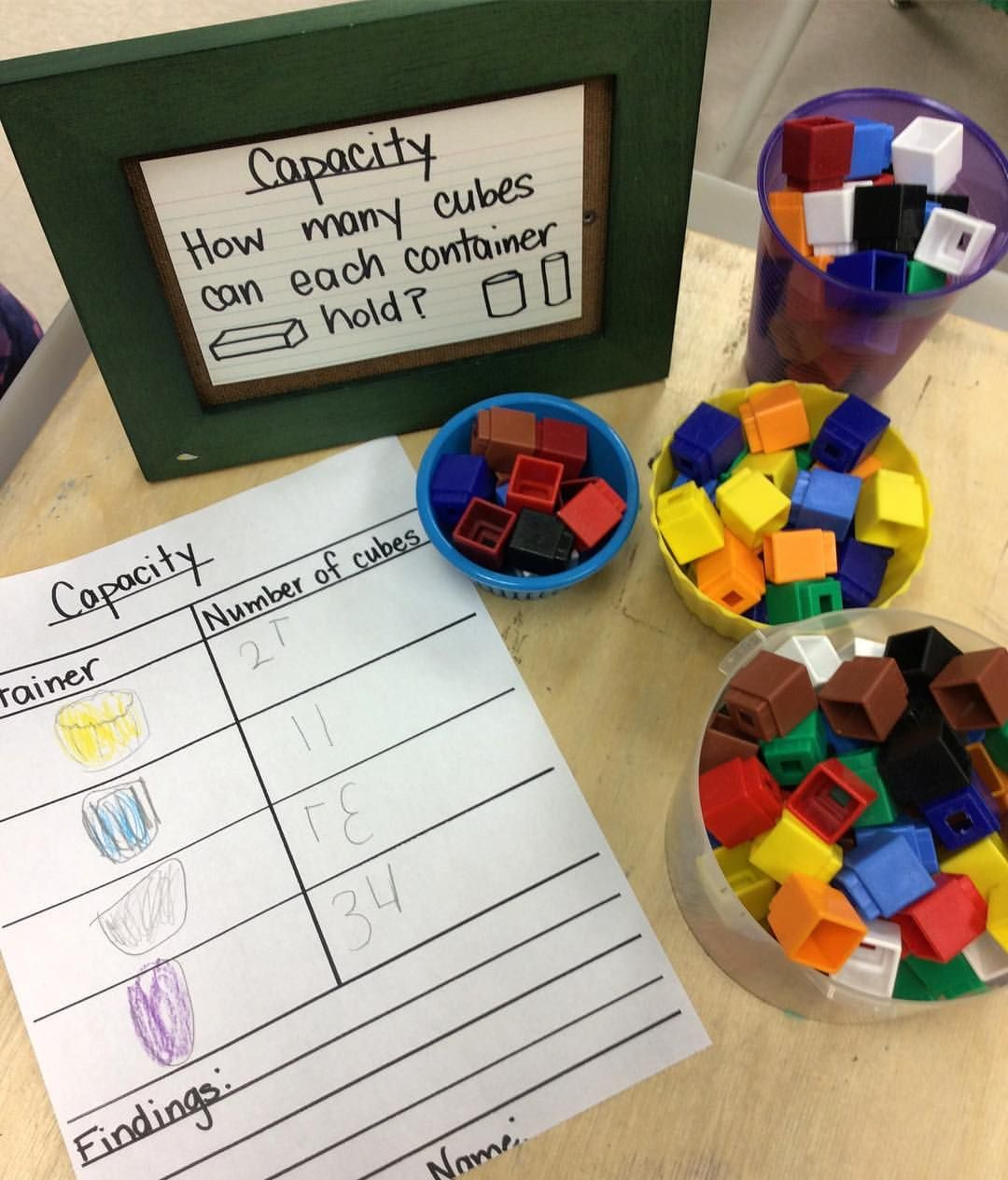 Exploring Capacity Using Cubes Kindergarten