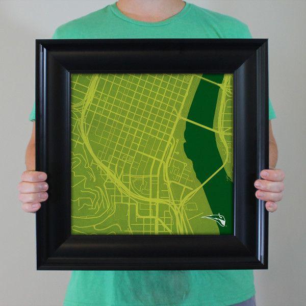 Portland State University Campus Map Art