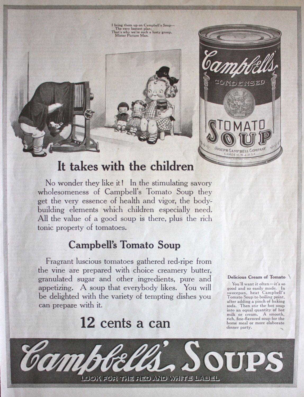 1921 ad Campbell\'s Tomato Soup Kitchen Art Vintage Print ad ETK203 ...