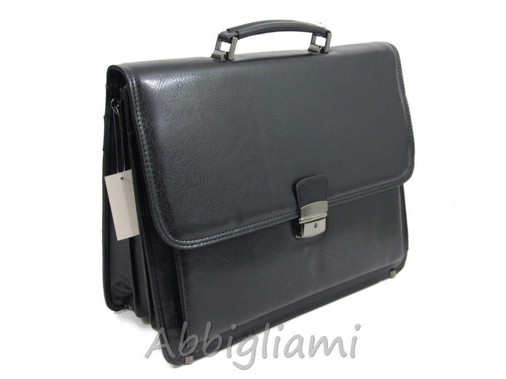 Borsa Ufficio Porta Documenti PC Simil Pelle Lavoro Cartella Soffietto 9015  Nero ce1d9cf760c