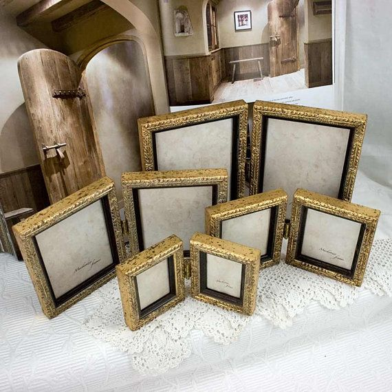 4x6 inch Pale Gold Hinged Double Frame for Two Vertical Photos ...