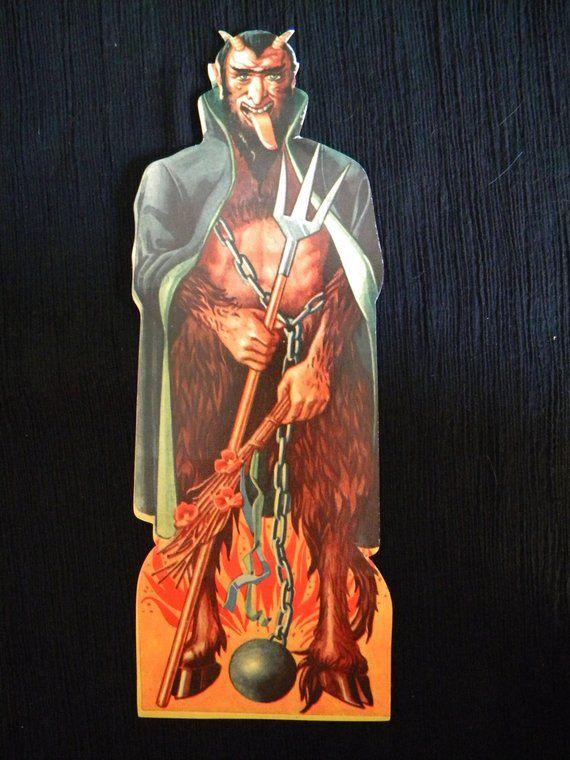 Large Vintage Krampus Die Cut Scrap Satan Devil Halloween and