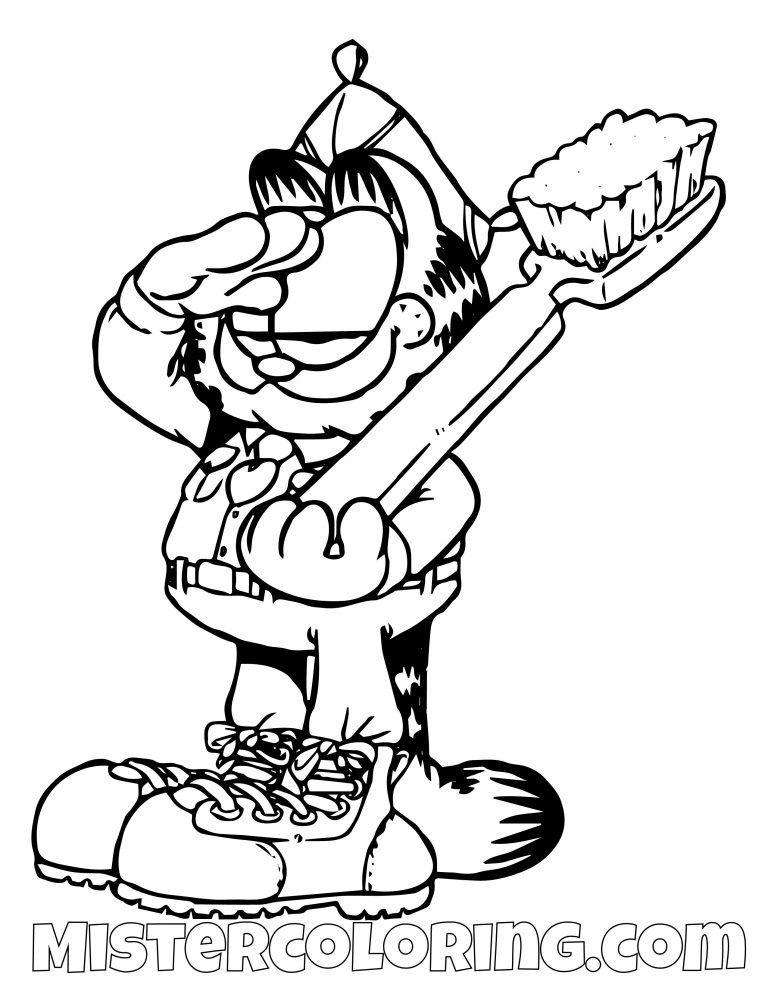 Garfield Saluting With Toothbrush Coloring Page Coloring Pages