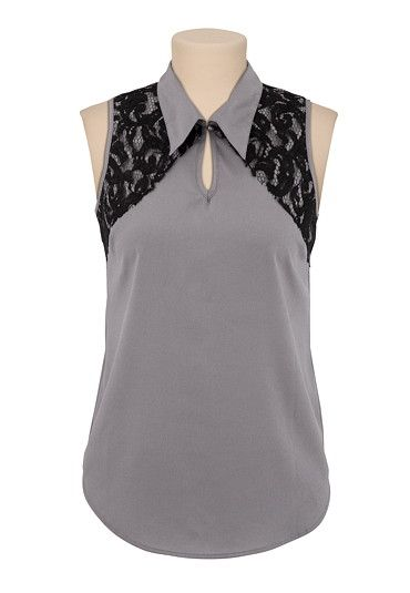 46d93367f819b Sleeveless Collared Contrast Lace Blouse available at  Maurices ...