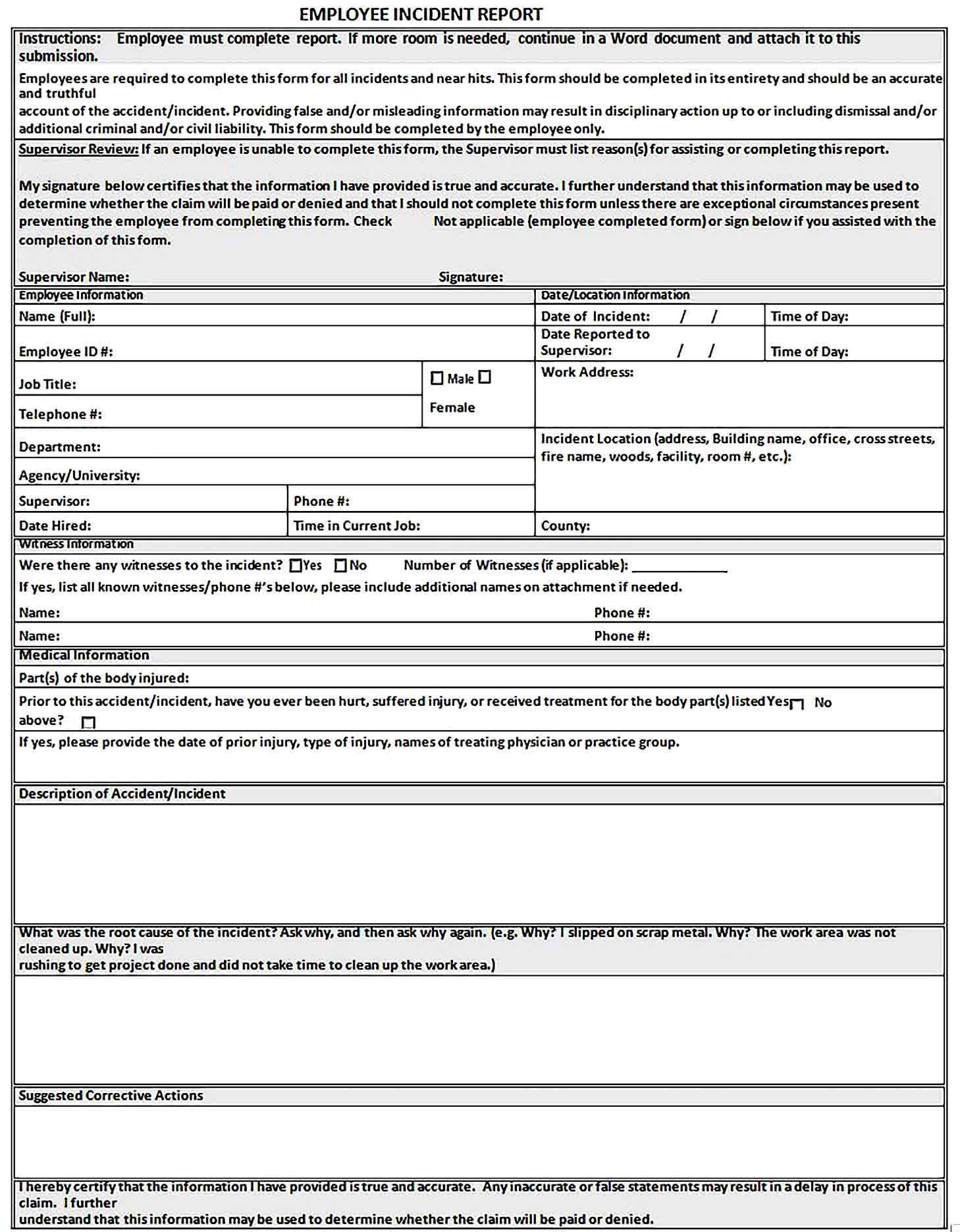 Sample Incident Report Templates In 2020 Incident Report Report Template Business Template