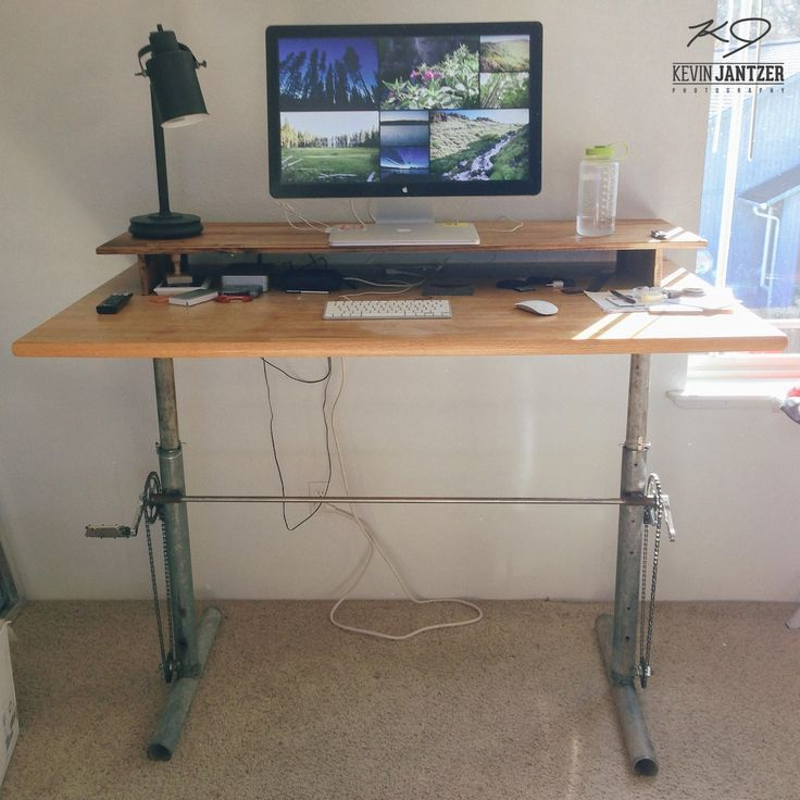 Diy Adjustable Standing Desk For Under 100 Adjustable Standing Desk Standing Desk Plans Standing Desk Design