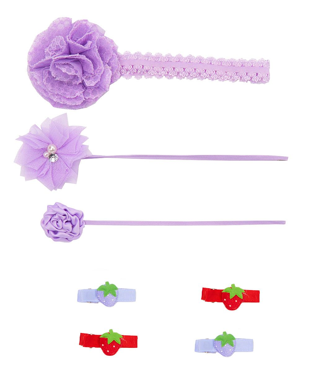 Lavender & Red Headband Set
