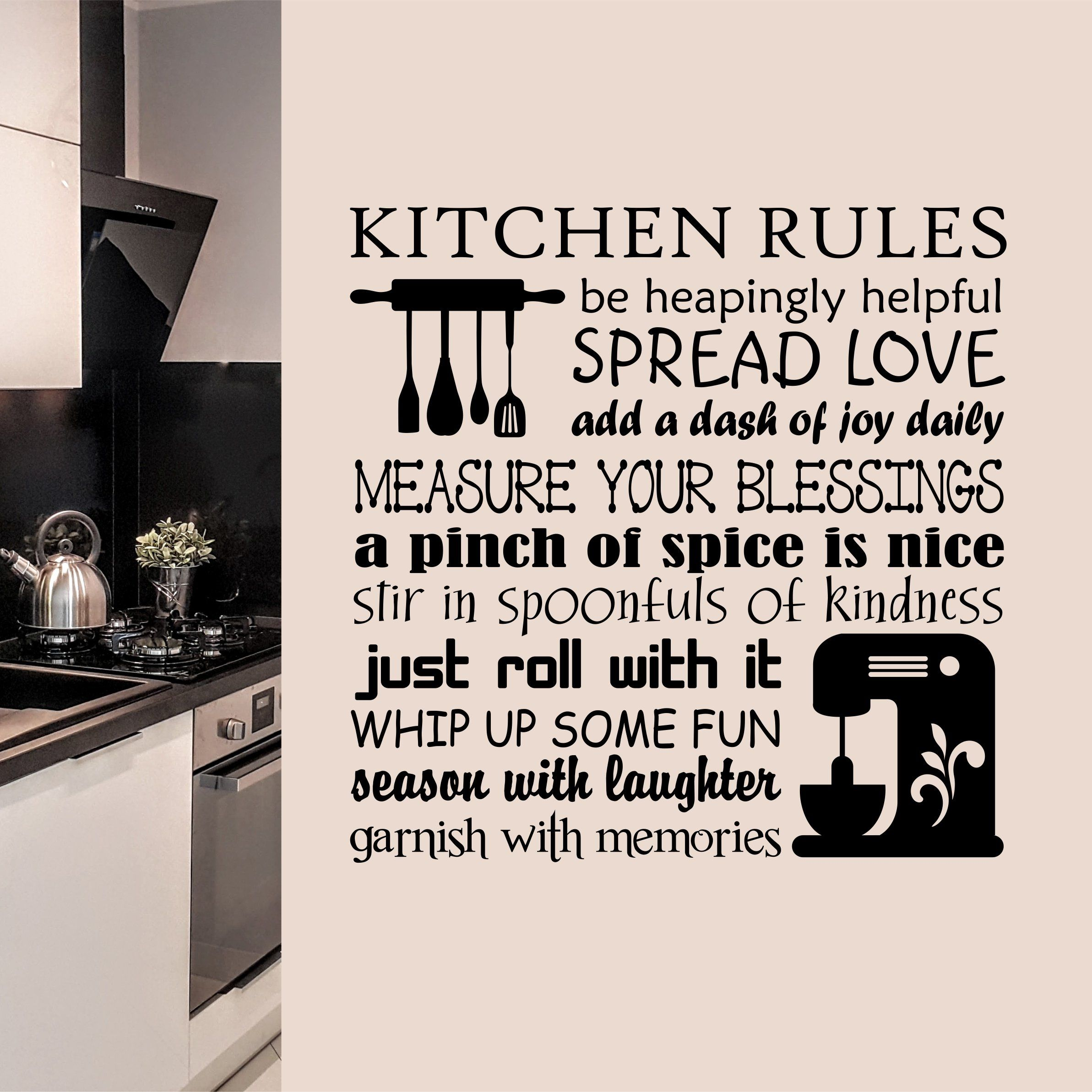Farmhouse Kitchen Wall Decal Baking Rules Bakery Collage Kitchen Rules Vinyl Wall Lettering Letter Wall