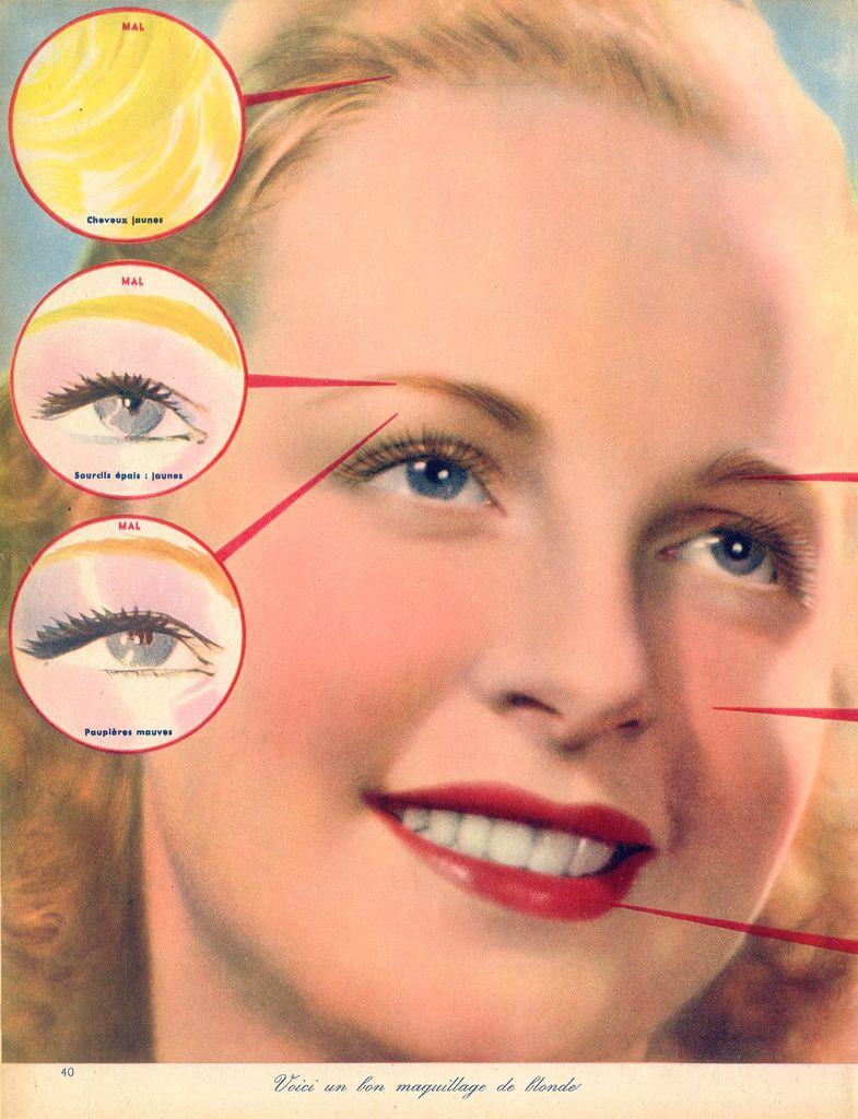 Makeup for blondes, 1939 1930s makeup, Vintage makeup