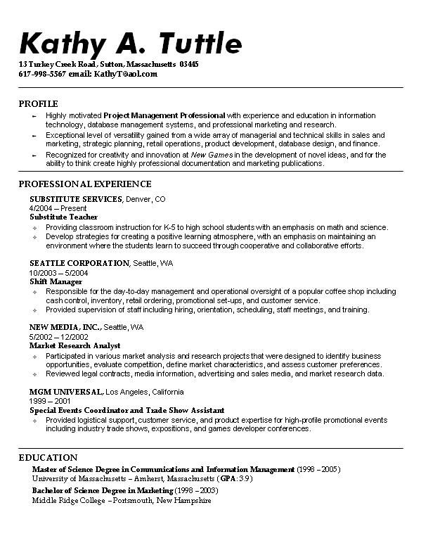 Example Resume Profiles Personal Profile Format For College Students