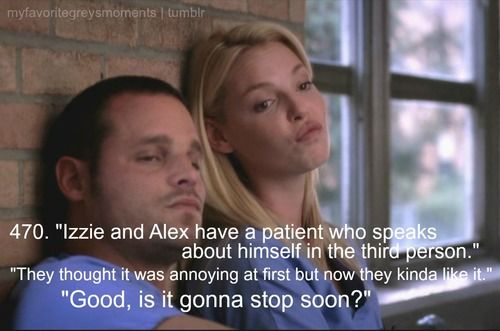 Izzie and Alex have a patient who speaks about himself on the third ...