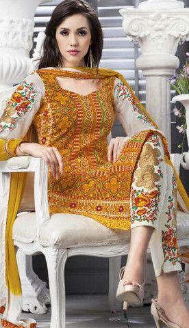 Fashionable Indian Mustard Cotton Printed Pakistani Suit-KCW-54268-CA