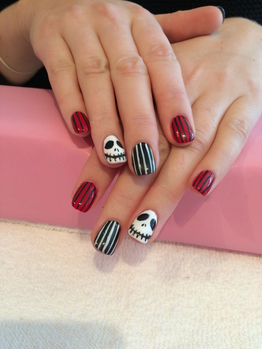 Nightmare before Christmas nails hand painted with shellac over ...