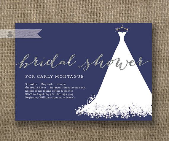 Navy bridal shower invitations wedding gown printed navy blue bridal this invitation does not include real glitter but rather a quality high resolution graphic that will print to look like glitter filmwisefo