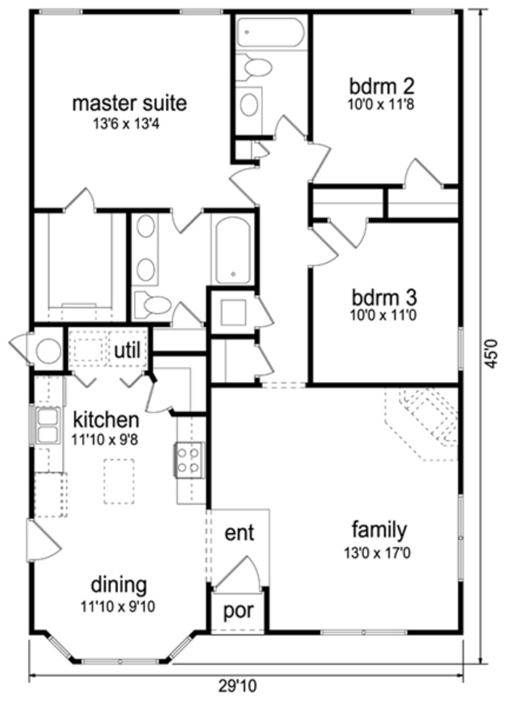 Traditional Style House Plan 3 Beds 2 Baths 1289 Sq Ft Plan 84