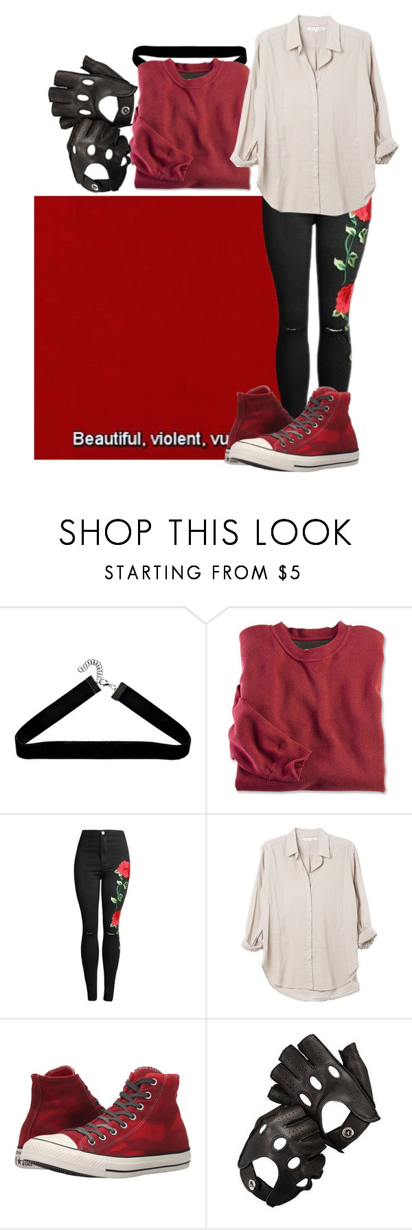 """""""Red, the color of desire"""" by biter-sweet ❤ liked on Polyvore featuring Boohoo, Xirena, Converse and Aspinal of London"""