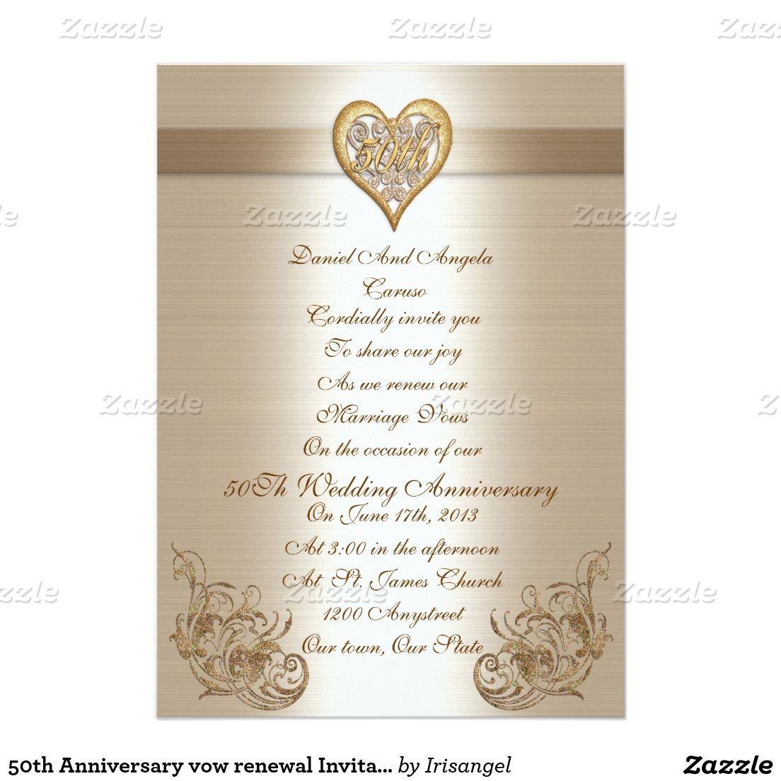 50th Anniversary vow renewal Invitation | Vow renewal invitations ...