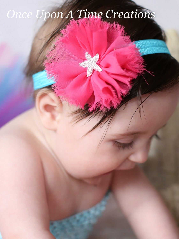 Mermaid Headband Baby Headband Baby Girl Headband Mermaid Hair Bow Starfish Headband Mermaid Birthday Girls Headband Infant Headband