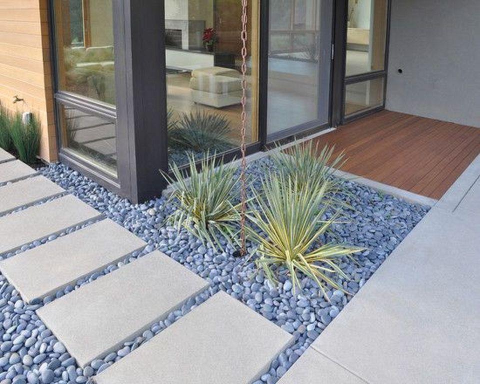 20 Modern Landscaping Design Ideas With Stone Landschaftsbau Mit Steinen Steingarten Design Vorgarten