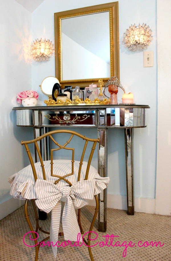Our Vanity Chair Makeover with ruffled slipcover! www ...