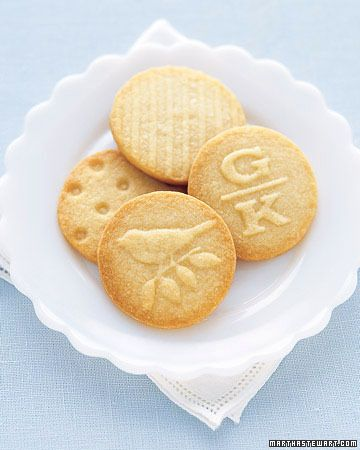 Use ordinary rubber stamps to add festive designs, such as birds or bunnies, to basic shortbread cookies (Martha Stewart).