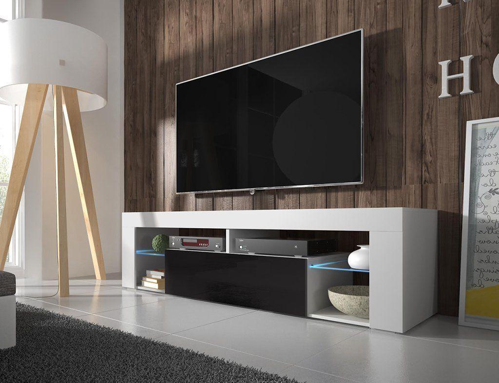 TV Schrank Lowboard Sideboard Tisch Möbel Board HURON (Weiß Matt / Schwarz  Hochglanz Mit LED