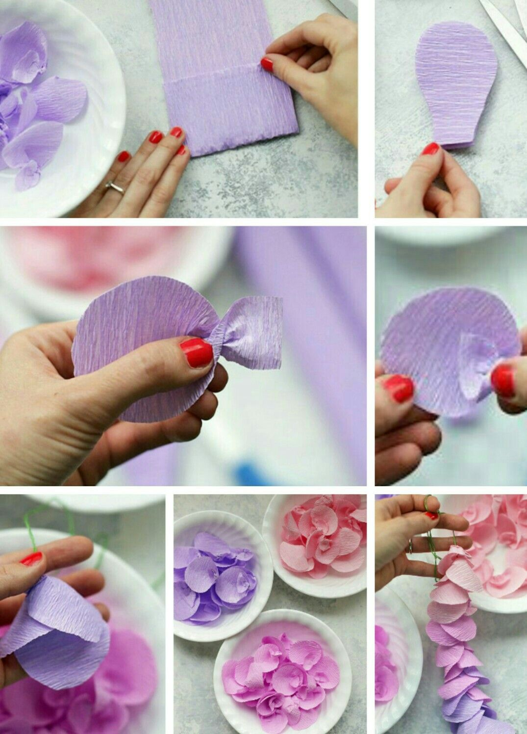 How To Make Crepe Paper Wisteria Flowers Paper Flowers Diy Paper Flower Tutorial Diy Spring Crafts