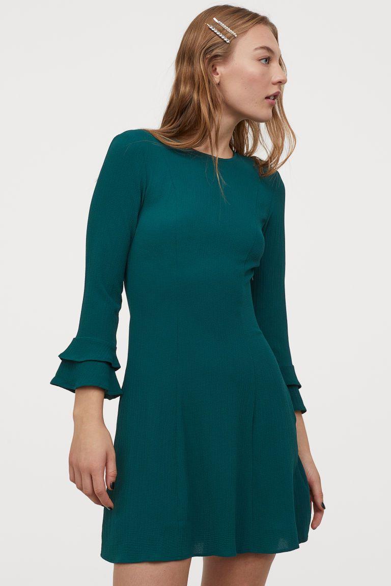 Kleid mit Volantärmeln - Smaragdgrün - Ladies  H&M DE en 16