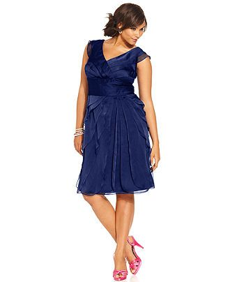 Adrianna Papell Plus Size Pleated Empire-Waist Dress - Plus Size Dresses - Plus Sizes - Macy's