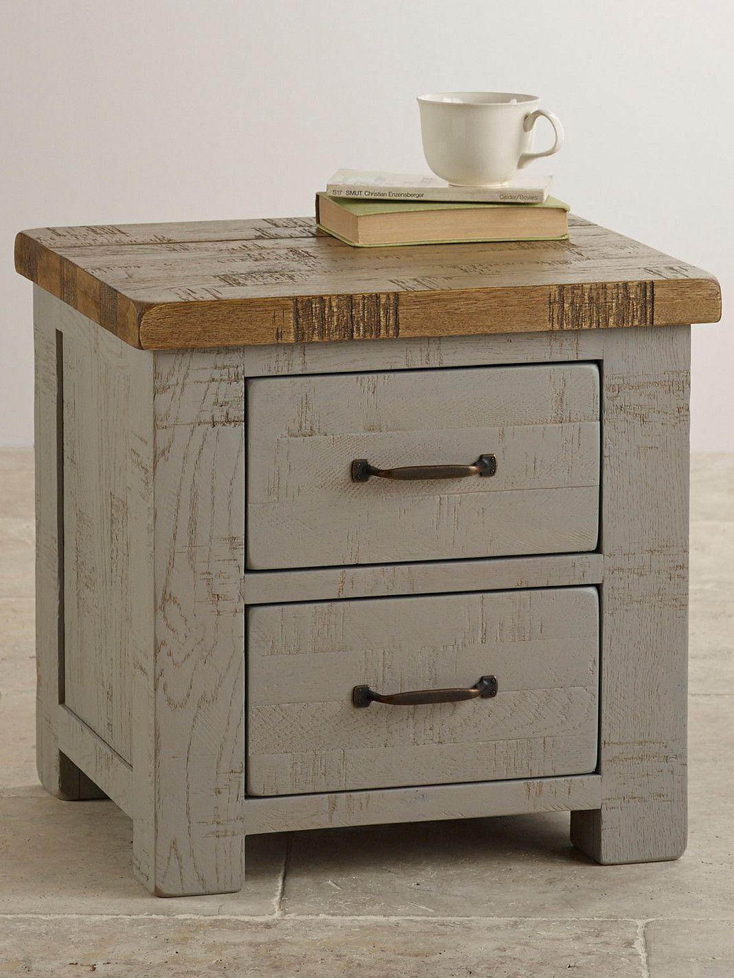 Clermont Painted Rough Sawn Solid Oak 2 Drawer Bedside Cabinet Oak Furniture Land Solid Wood Furniture Bedside Cabinet