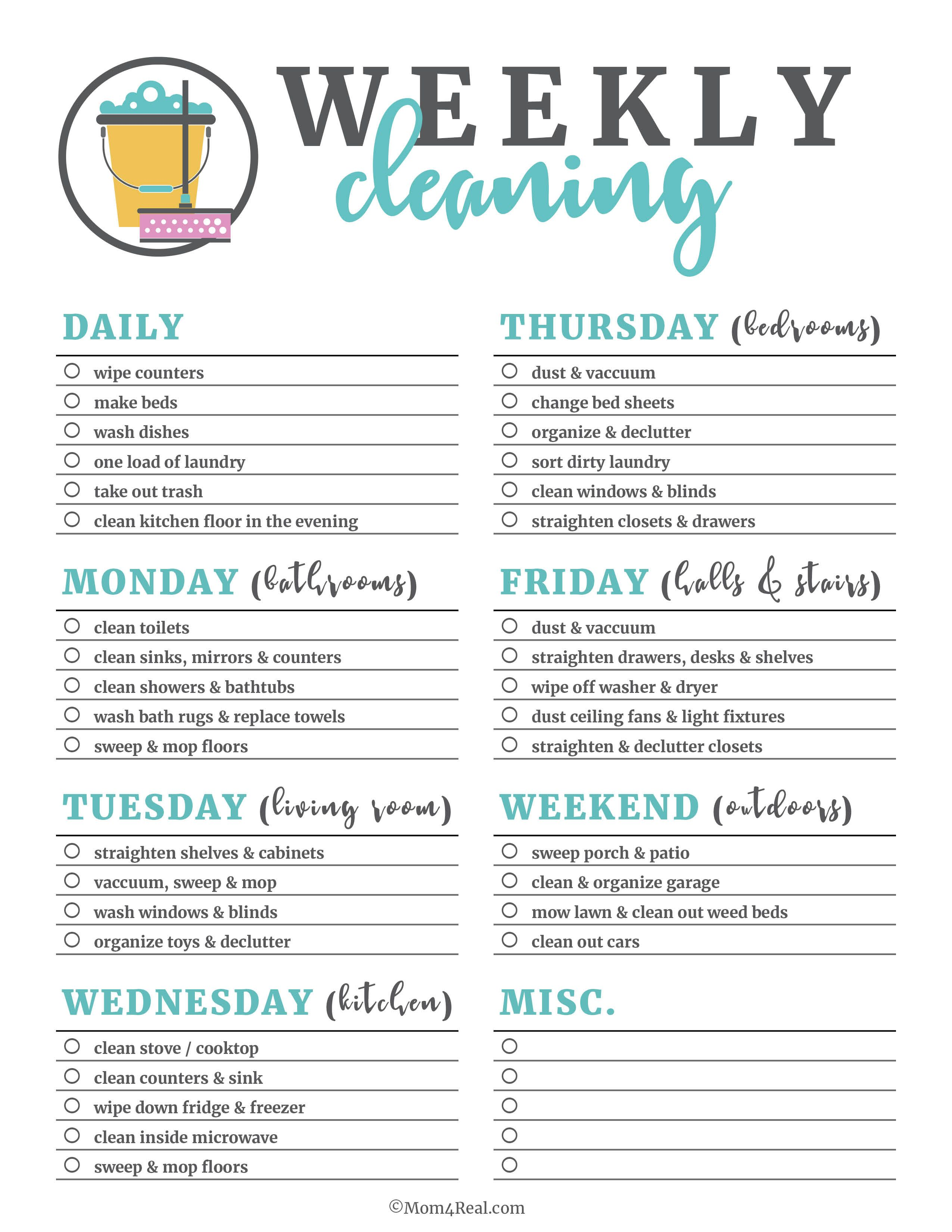 Printable Cleaning Checklists For Daily Weekly And Monthly Cleaning
