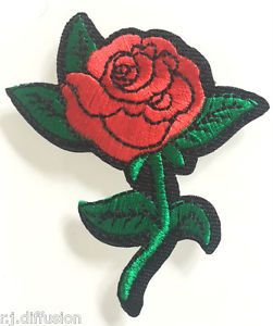 Ecusson Patch Fleur Rose Rouge Custom Thermocollant Ebay Doen