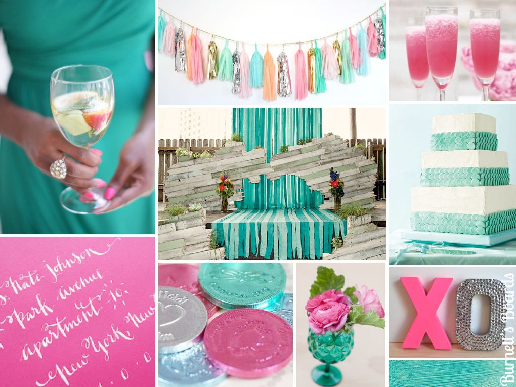 Aquamarine And Hot Pink Blue Green Aqua Neon Wedding Inspiration Board
