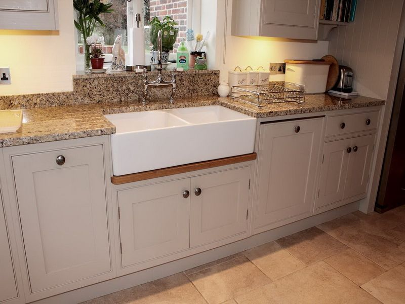 Kitchen Luxury Kitchen Design With Double White Farmhouse Kitchen Sinks  Marble Countertop And Calm Cabinets Color