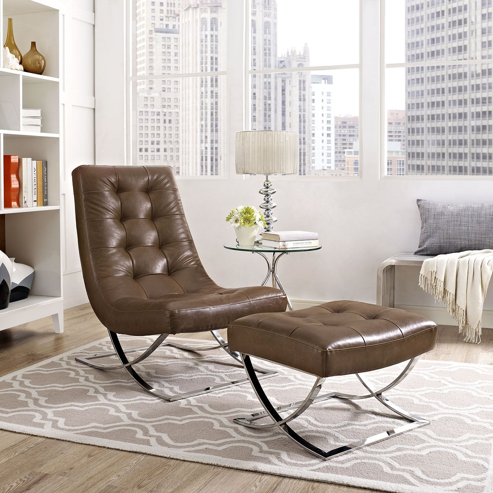 Modway Slope Faux Leather Lounge Chair and Ottoman Set (Black ...