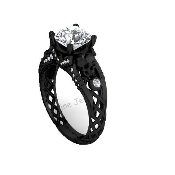 fd13752bc620a7 Skull Ring, Diamond Skull Engagement Ring Womens, Spooky Geeky Gothic Skull  Wedding Ring, Gun Metal Fn 925 Sterling Silver, US Ring Size 6.5