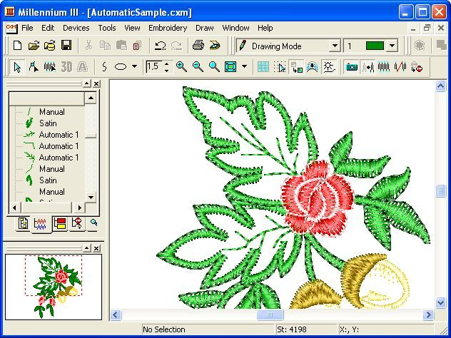 Automatic example embroidery machine design