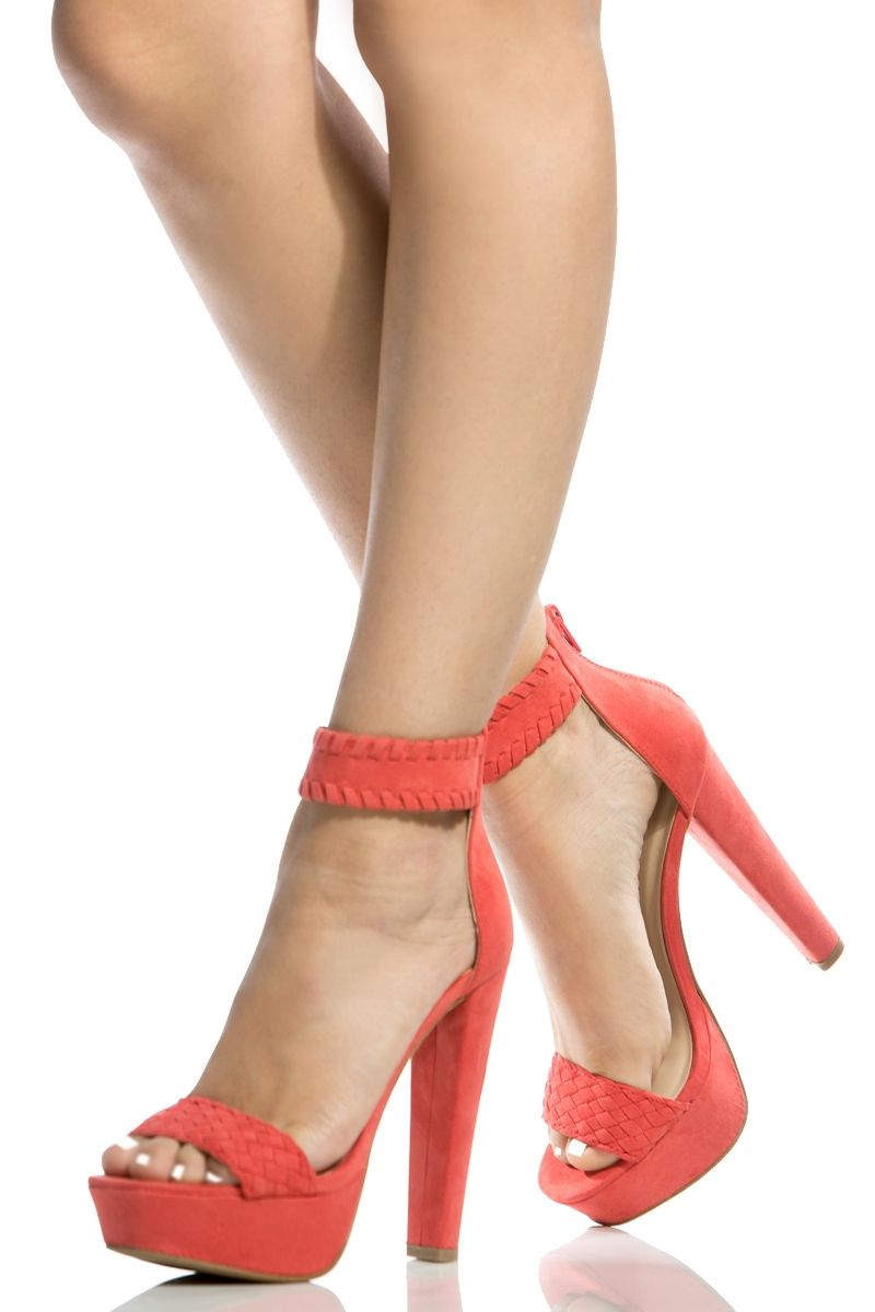 wholesale online 2018 shoes uk store Coral Faux Suede Ankle Strap Chunky Platform Heels @ Cicihot ...