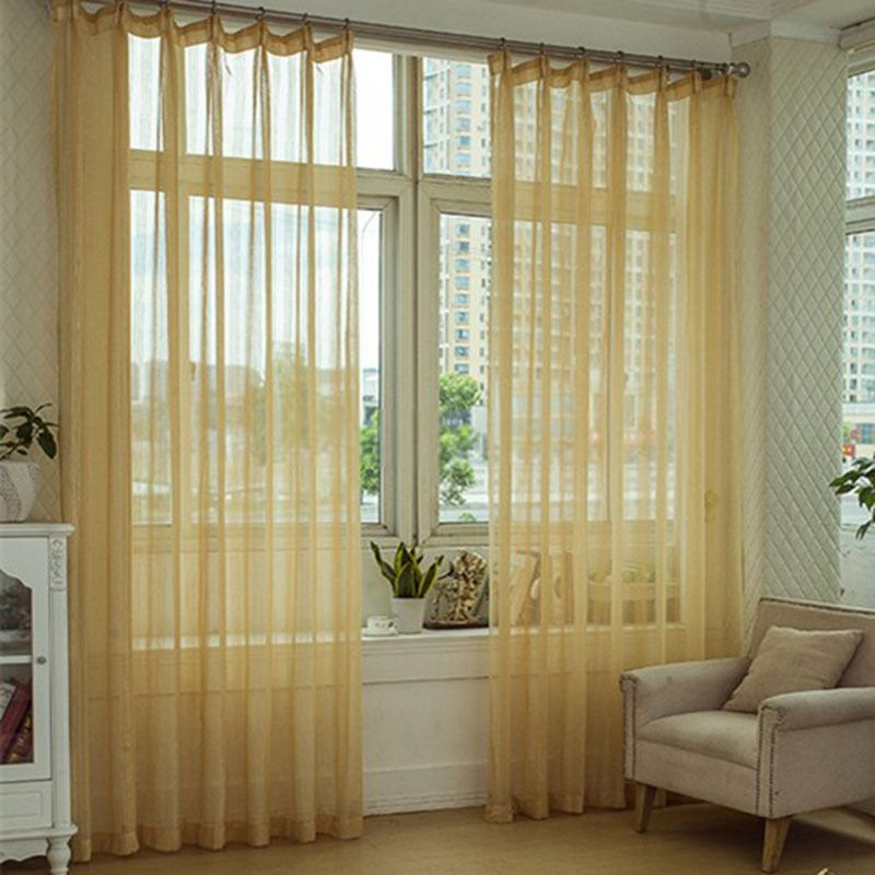 Beautiful Lines Patterned Light Yellow Striped Sheer Curtains