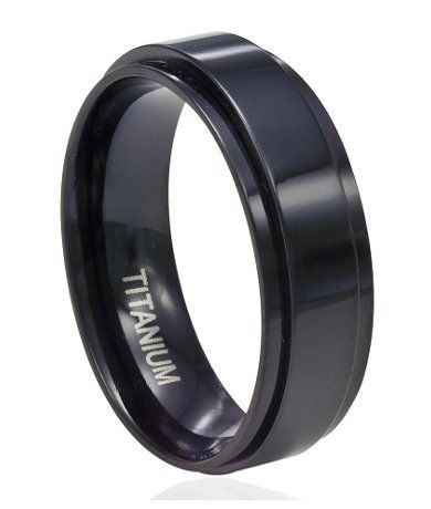 8mm Men S Black Anium Spinner Ring With Flat Profile And Glossy Finish