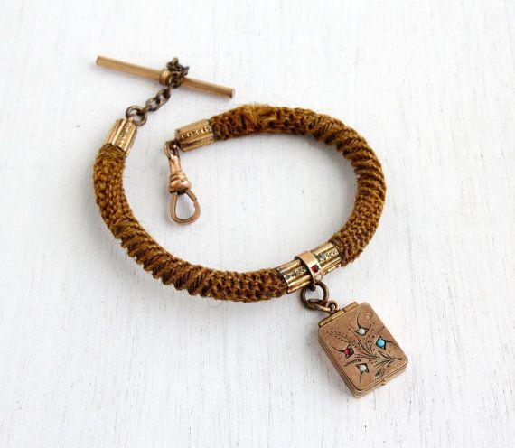 9b1874ca5b5c6 SALE Antique Victorian Hair & Locket Watch Chain by MaejeanVintage ...