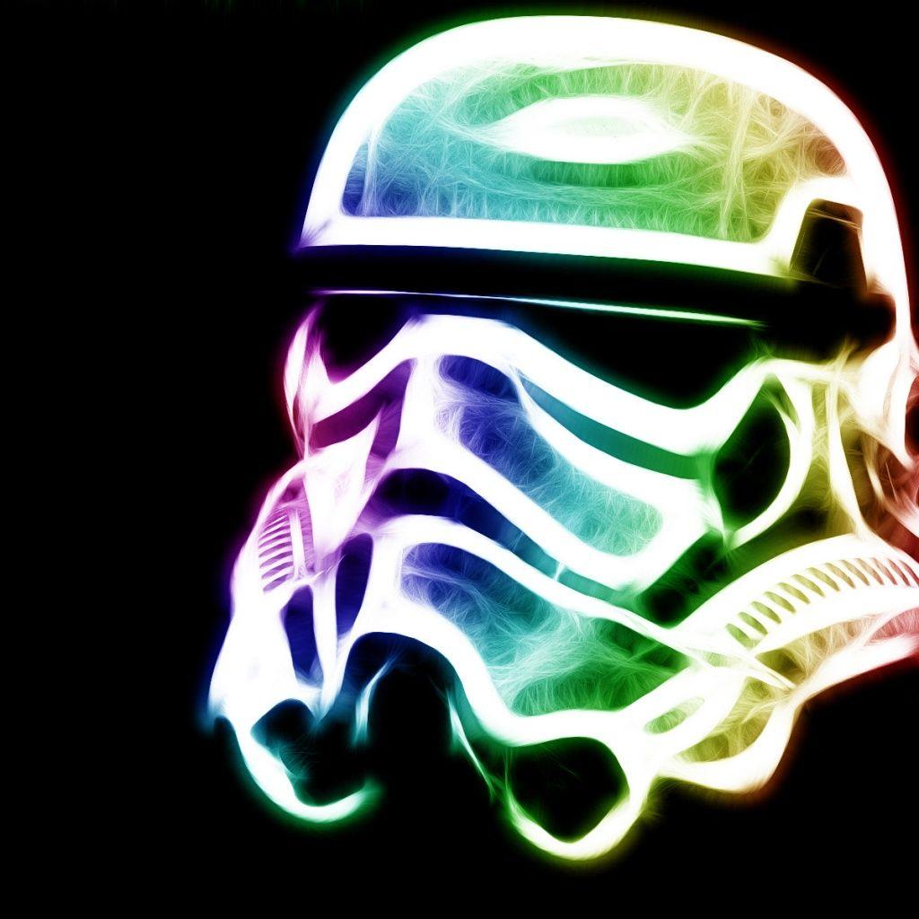 Colorful Stormtrooper Helmet IPad Wallpaper