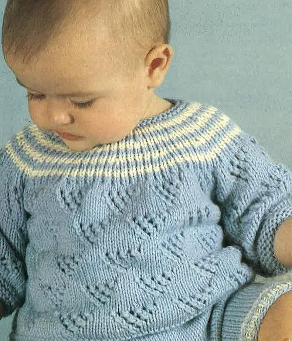 Knitting Pattern Vintage Babies Sweater, Pants, Booties, Sock Size 3 ...