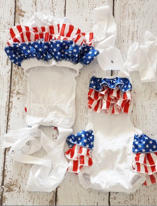 16221170efe8 Girl Red White Blue Ruffle Romper Patriotic Pageant 12M 2T 3T 4 5 6 Baby  Toddler  MyCutiePye  DressyEverydayHoliday